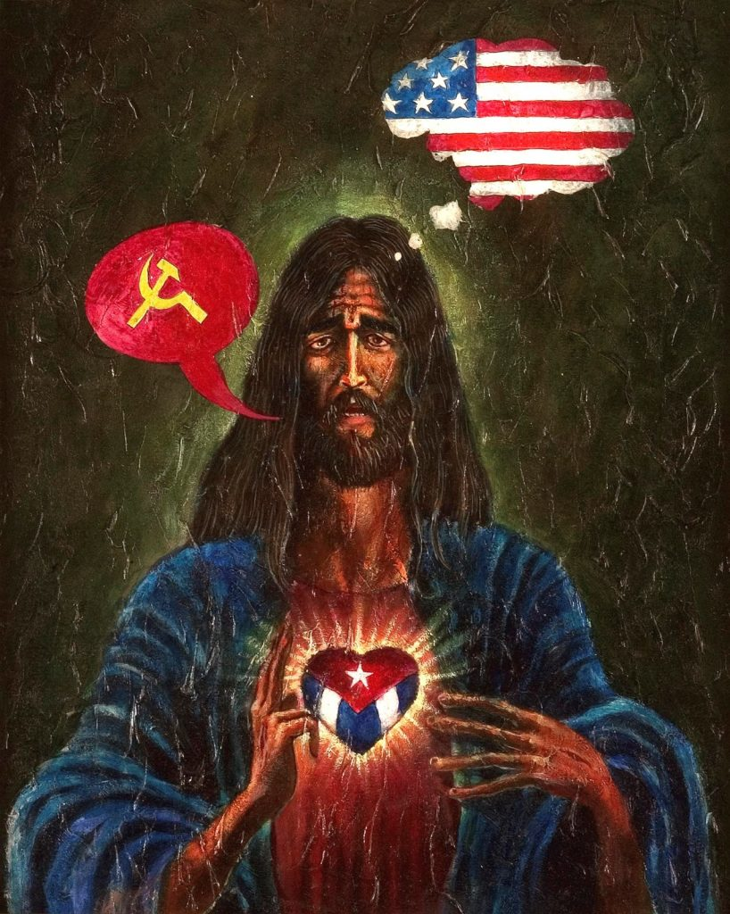 Lázaro Saavedra, El Sagrado Corazón (Sacred Heart), 1995, acrylic on board, Patricia & Howard Farber Collection, New York. © Lázaro Saavedra