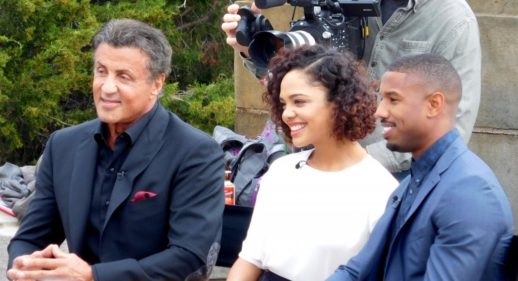 Sylvester_Stallone,_Tessa_Thompson,_and_Michael_B._Jordan_promoting_Creed_at_the_Philadelphia_Art_Museum